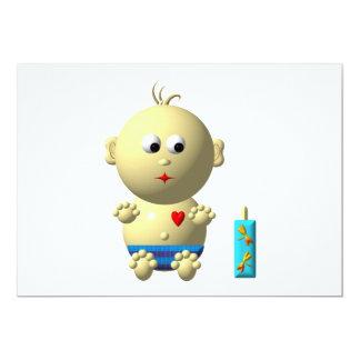Cute baby boy with heart card
