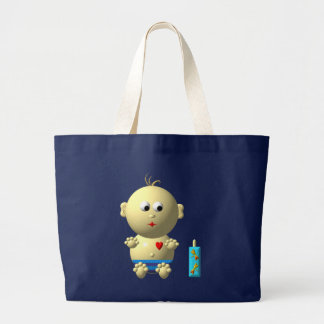 Cute baby boy with heart large tote bag