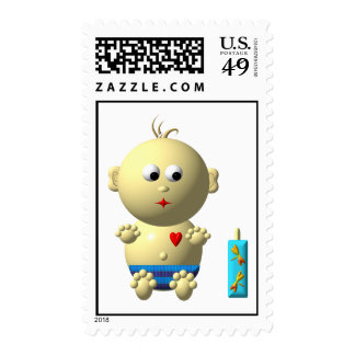 Cute baby boy with heart postage