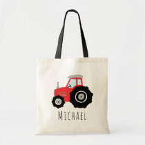 Cute Baby Boy's Red Farm Tractor and Name Tote Bag