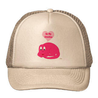 Cute Baby Bright Pink Dinosaur Be My Dinotine Trucker Hats