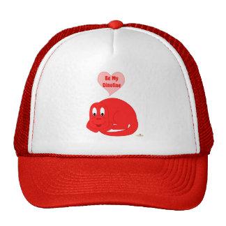 Cute Baby Bright Red Dinosaur Be My Dinotine Trucker Hats