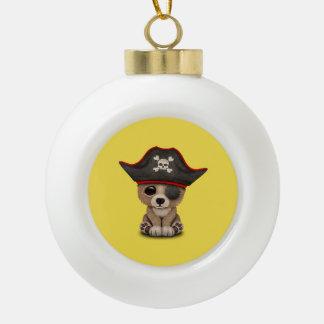 Cute Baby Brown Bear Cub Pirate Ceramic Ball Christmas Ornament