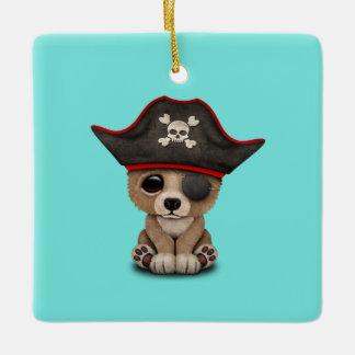 Cute Baby Brown Bear Cub Pirate Ceramic Ornament