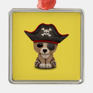 Cute Baby Brown Bear Cub Pirate Metal Ornament