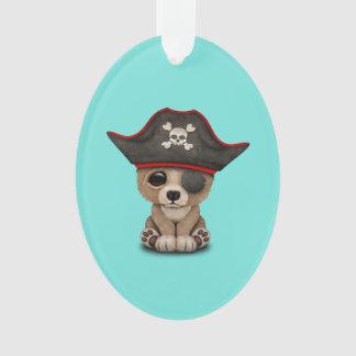 Cute Baby Brown Bear Cub Pirate Ornament