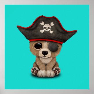 Cute Baby Brown Bear Cub Pirate Poster