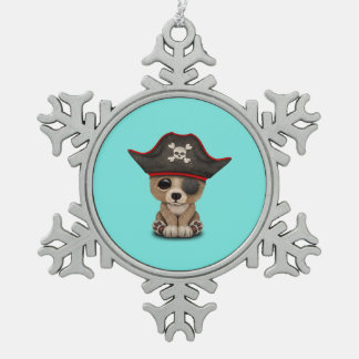 Cute Baby Brown Bear Cub Pirate Snowflake Pewter Christmas Ornament