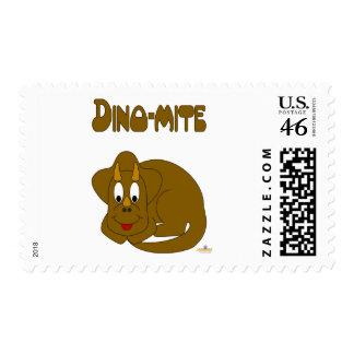 Cute Baby Brown Dinosaur Dino-mite Postage Stamp