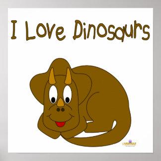 Cute Baby Brown Dinosaur I Love Dinosaurs Poster