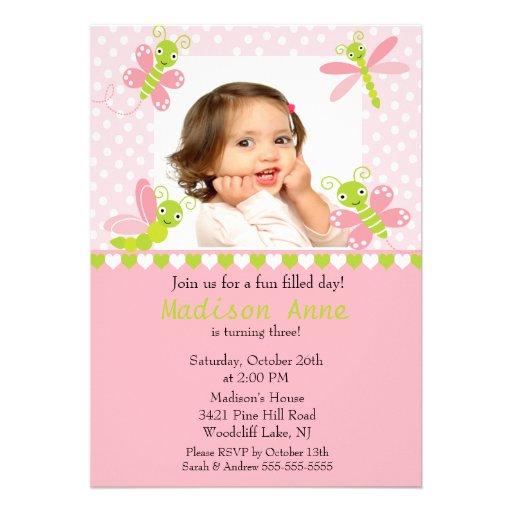 Cute Baby Bugs Photo Birthday Invitation