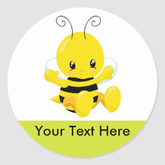 Cute Baby Bumble Bee Classic Round Sticker