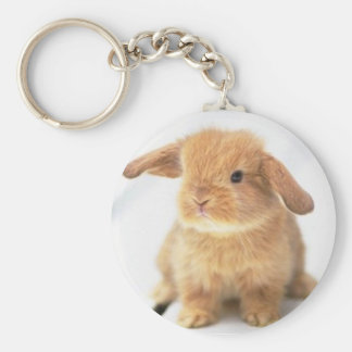 Cute Baby Bunny Happy Easter Design Basic Round Button Keychain