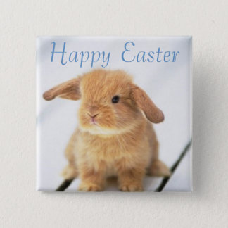 Cute Baby Bunny Happy Easter Design Pinback Button