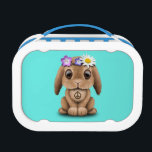 """Cute Baby Bunny Hippie Lunch Box<br><div class=""""desc"""">This adorable design features a small baby bunny flower child. The tiny rabbit is wearing a leather headband decorated with flowers as well as a peace symbol necklace and colorful bracelet. The over sized head and small body along with the details in the fur and flowers create a beautiful combination...</div>"""