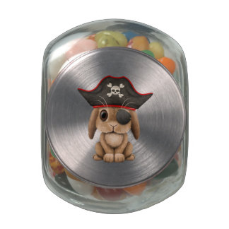 Cute Baby Bunny Pirate Jelly Belly Candy Jar