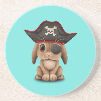 Cute Baby Bunny Pirate Sandstone Coaster