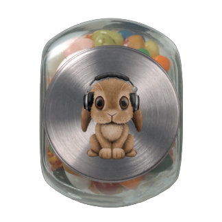 Cute Baby Bunny Wearing Headphones Jelly Belly Candy Jars