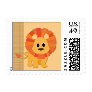 Cute Baby Cartoon Lion on Butterscotch Postage Stamp