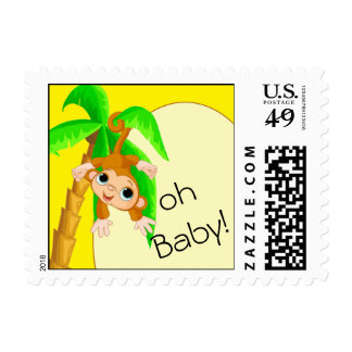 Cute Baby Cartoon Monkey on Yellow Postage Stamp