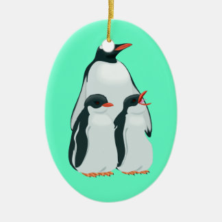 Cute Baby Cartoon Penguin Double-Sided Oval Ceramic Christmas Ornament