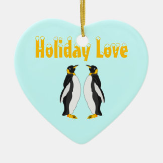 Cute Baby Cartoon Penguin Double-Sided Heart Ceramic Christmas Ornament