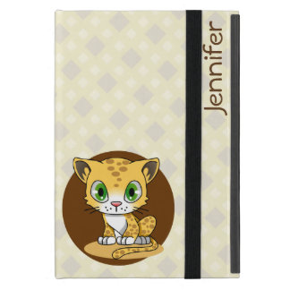 Cute baby cat leopard cartoon name kids ipad case