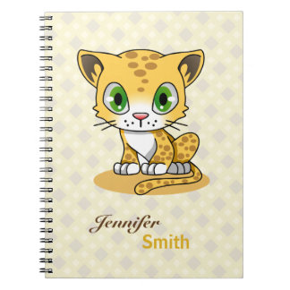 Cute baby cat leopard cartoon name kids notebook