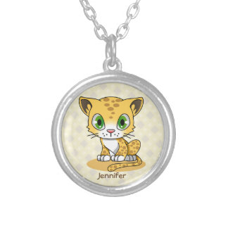 Cute baby cat leopard cartoon name necklace