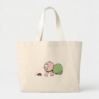 Cute Baby Chasing Ladybug Large Tote Bag