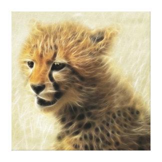 Cute baby Cheetah Cub Fractal Stretched Canvas Prints