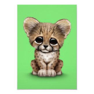 Cute Baby Cheetah Cub on Green Card