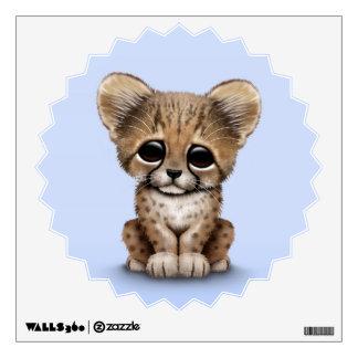 Cute Baby Cheetah Cub on Light Blue Wall Sticker