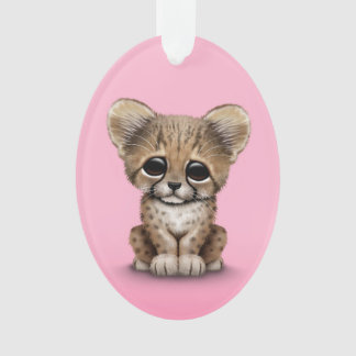 Cute Baby Cheetah Cub on Pink