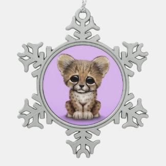 Cute Baby Cheetah Cub on Purple Snowflake Pewter Christmas Ornament