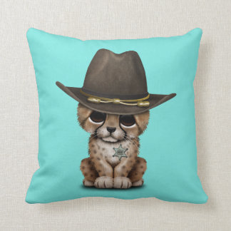 Cute Baby Cheetah Cub Sheriff Throw Pillow