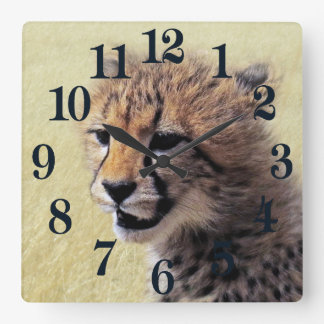 Cute baby Cheetah Cub Square Wall Clock