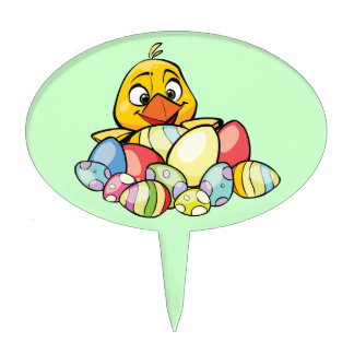 Cute Baby Chick and Easter Eggs Cake Picks