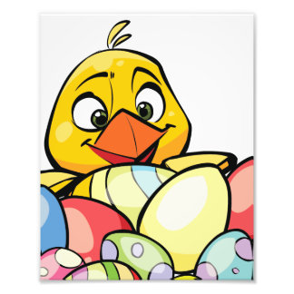 Cute Baby Chick and Easter Eggs Photo Print