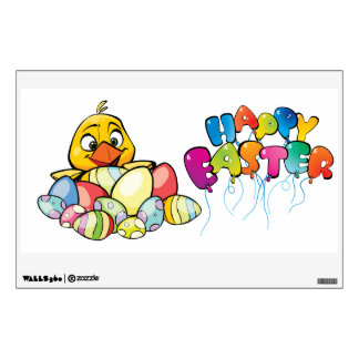 Cute Baby Chick and Easter Eggs Wall Decal