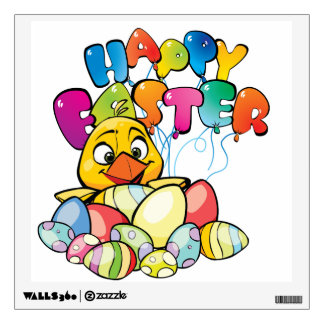 Cute Baby Chick and Easter Eggs Wall Sticker