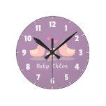 Cute Baby Chick Bird Family Baby Girl Room Decor Round Clocks
