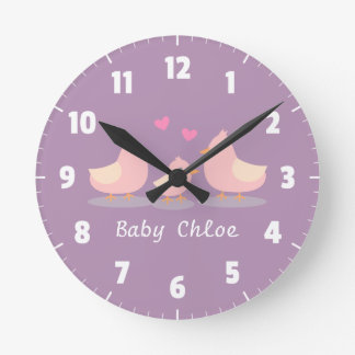Cute Baby Chick Bird Family Baby Girl Room Decor Round Clock
