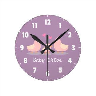 Cute Baby Chick Bird Family Baby Girl Room Decor Round Clock