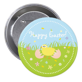 Cute Baby Chick Happy Easter Pinback Button
