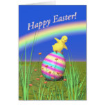 Cute Baby Chick on Easter Egg Greeting Cards