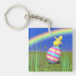 Cute Baby Chick on Easter Egg Double-Sided Square Acrylic Keychain