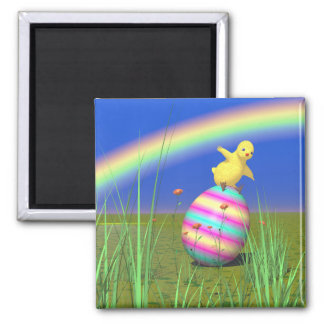 Cute Baby Chick on Easter Egg Refrigerator Magnets