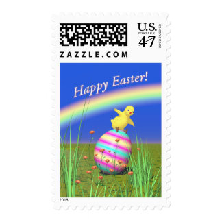 Cute Baby Chick on Easter Egg Postage