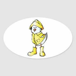 Cute Baby Chick Wearing a Yellow Raincoat Oval Sticker